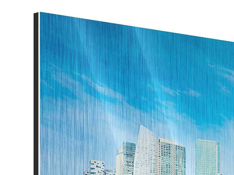 Metallic-Bild 5-teilig modern Skyline Mexiko-Stadt