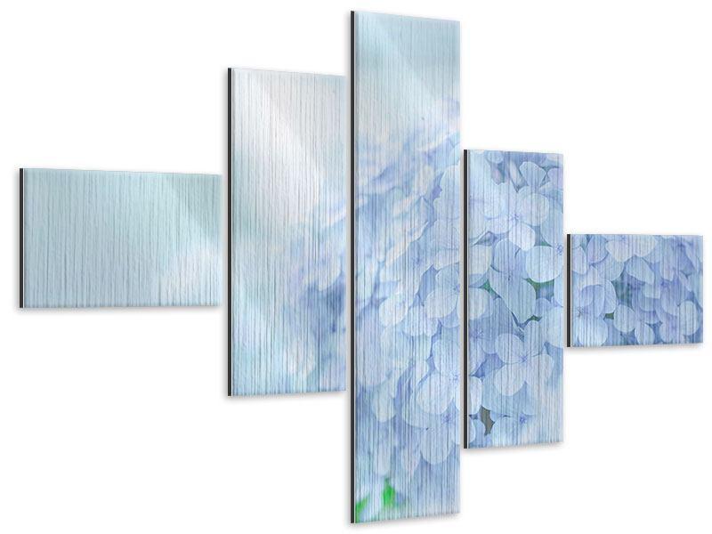 Metallic-Bild 5-teilig modern Die Hortensie
