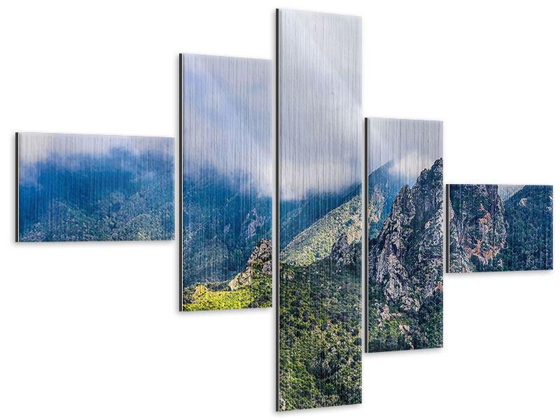 Metallic-Bild 5-teilig modern Der stille Berg