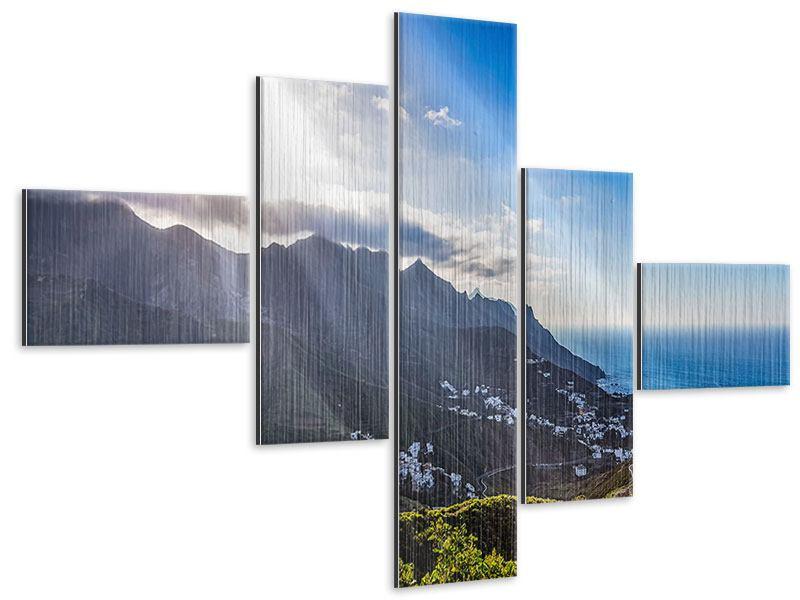 Metallic-Bild 5-teilig modern Der Frühling in den Bergen