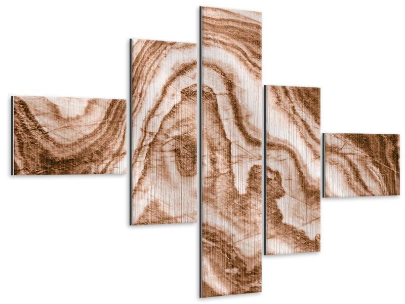Metallic-Bild 5-teilig modern Marmor in Sepia