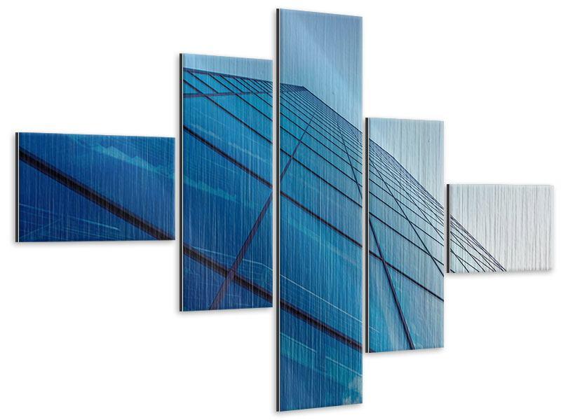 Metallic-Bild 5-teilig modern Wolkenkratzer-Highlight