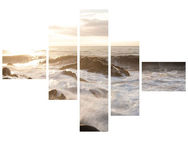 Metallic-Bild 5-teilig modern Meeresbrandung