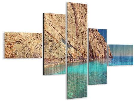 Metallic-Bild 5-teilig modern Wasser