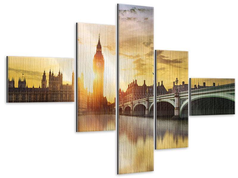 Metallic-Bild 5-teilig modern Skyline Big Ben im Sonnenuntergang