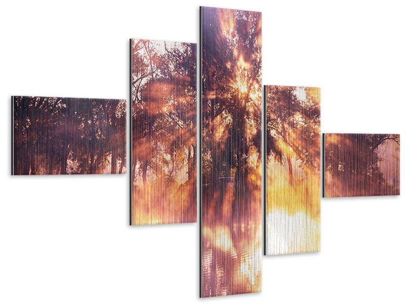 Metallic-Bild 5-teilig modern Die Waldspiegelung