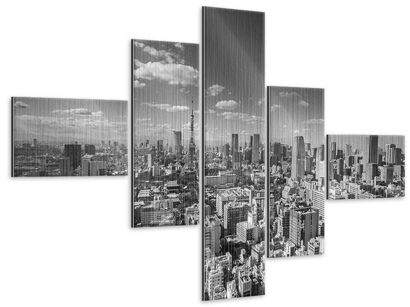 Metallic-Bild 5-teilig modern Tokio