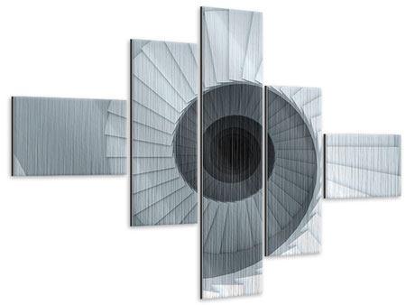 Metallic-Bild 5-teilig modern 3D Wendeltreppe