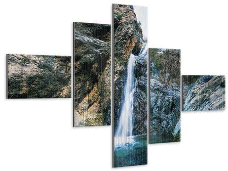 Metallic-Bild 5-teilig modern Bewegtes Wasser