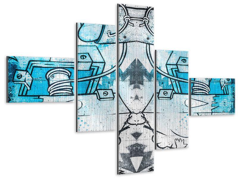 Metallic-Bild 5-teilig modern Graffiti