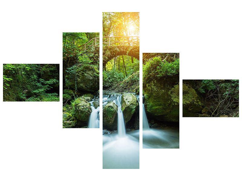 Metallic-Bild 5-teilig modern Wasserspiegelungen