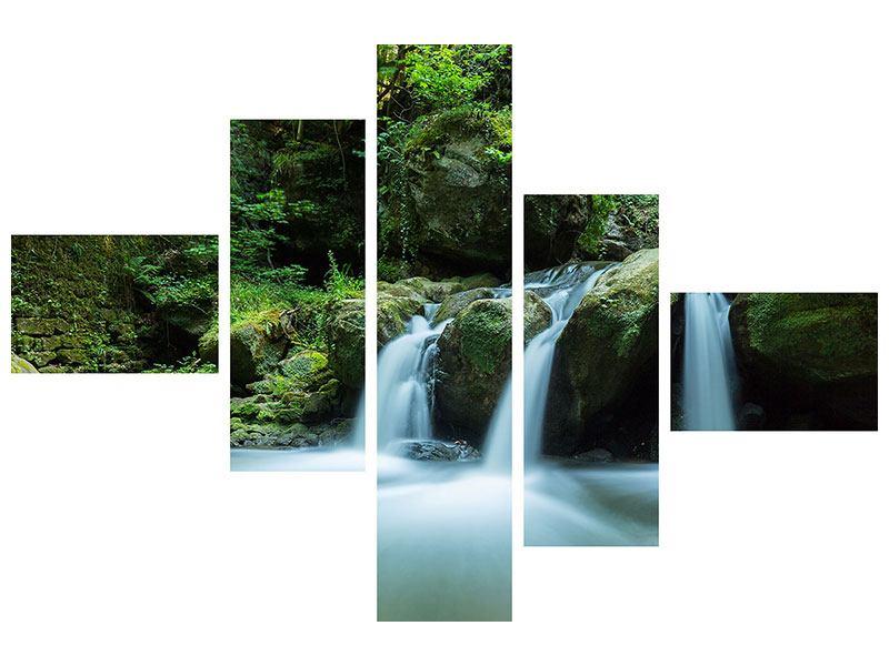 Metallic-Bild 5-teilig modern Fallendes Wasser