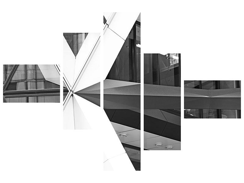 Metallic-Bild 5-teilig modern Teil eines Wolkenkratzers
