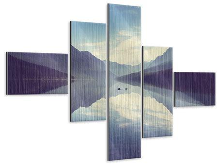 Metallic-Bild 5-teilig modern Bergspiegelung