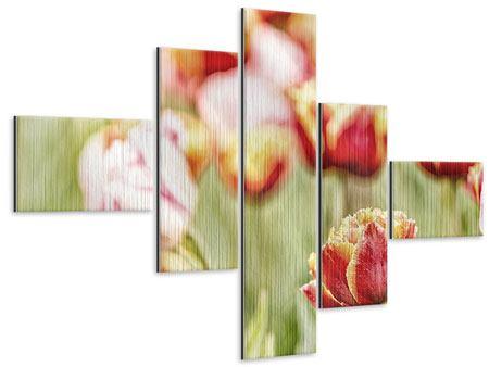 Metallic-Bild 5-teilig modern Die Schönheit der Tulpe