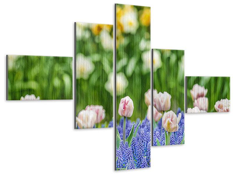 Metallic-Bild 5-teilig modern Ein Garten mit Tulpen