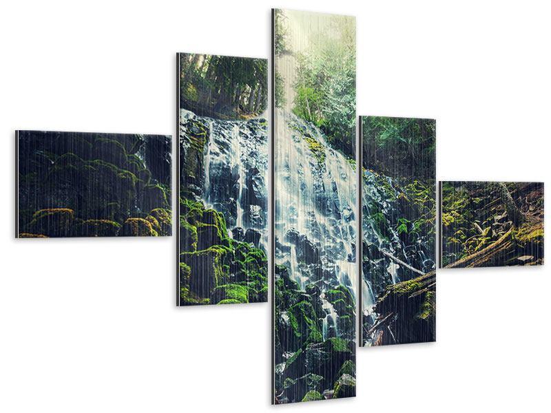 Metallic-Bild 5-teilig modern Feng Shui & Wasserfall