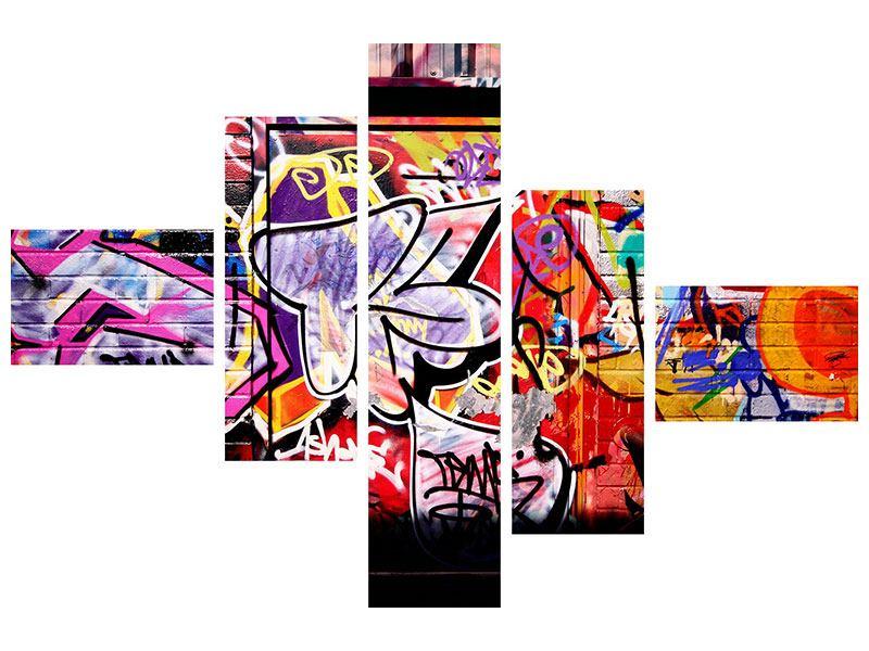 Metallic-Bild 5-teilig modern Graffiti Kunst