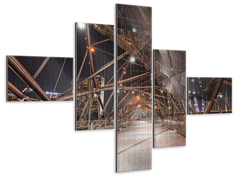 Metallic-Bild 5-teilig modern Brückenlichter