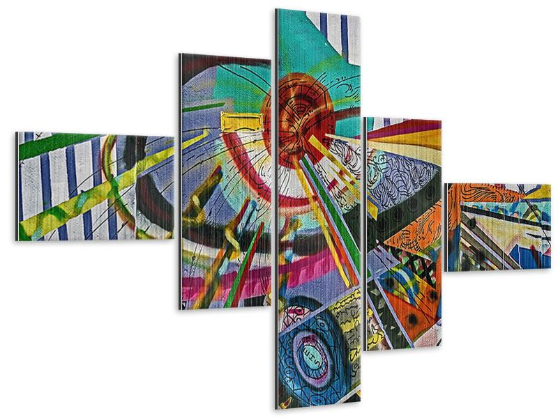 Metallic-Bild 5-teilig modern Künstlerisches Graffiti