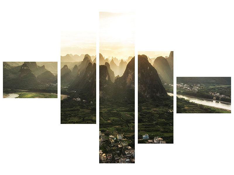 Metallic-Bild 5-teilig modern Die Berge von Xingping