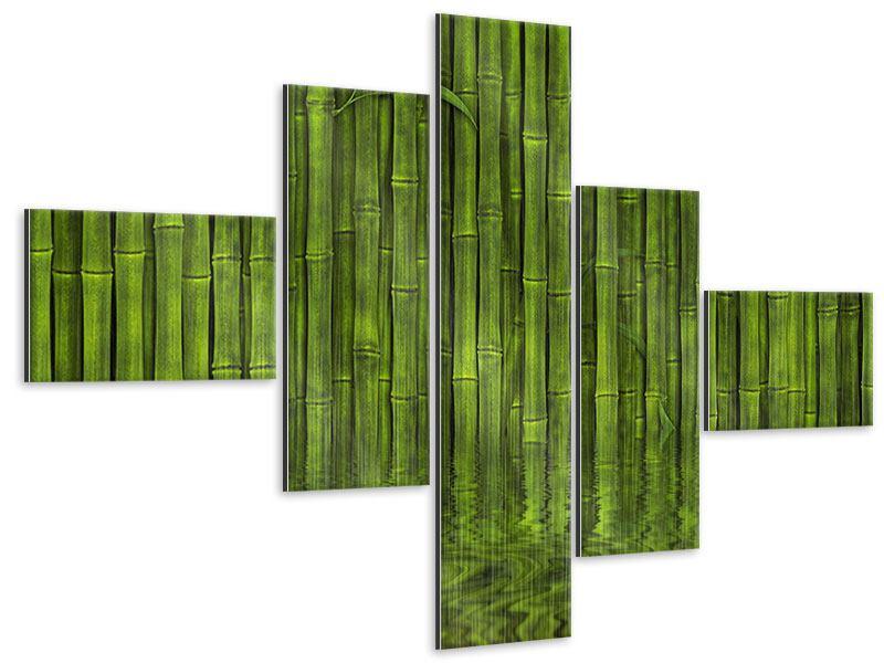 Metallic-Bild 5-teilig modern Wasserspiegelung Bambus