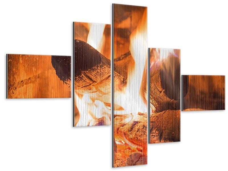 Metallic-Bild 5-teilig modern Kaminfeuer