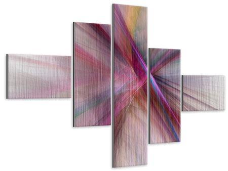 Metallic-Bild 5-teilig modern Abstraktes Lichterleuchten