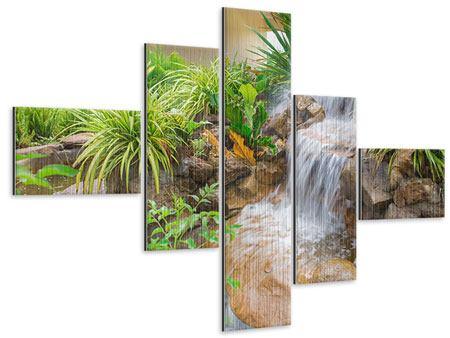Metallic-Bild 5-teilig modern Paradiesgarten