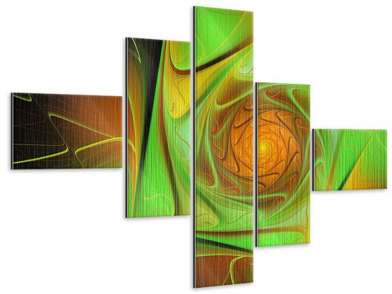 Metallic-Bild 5-teilig modern Abstraktionen