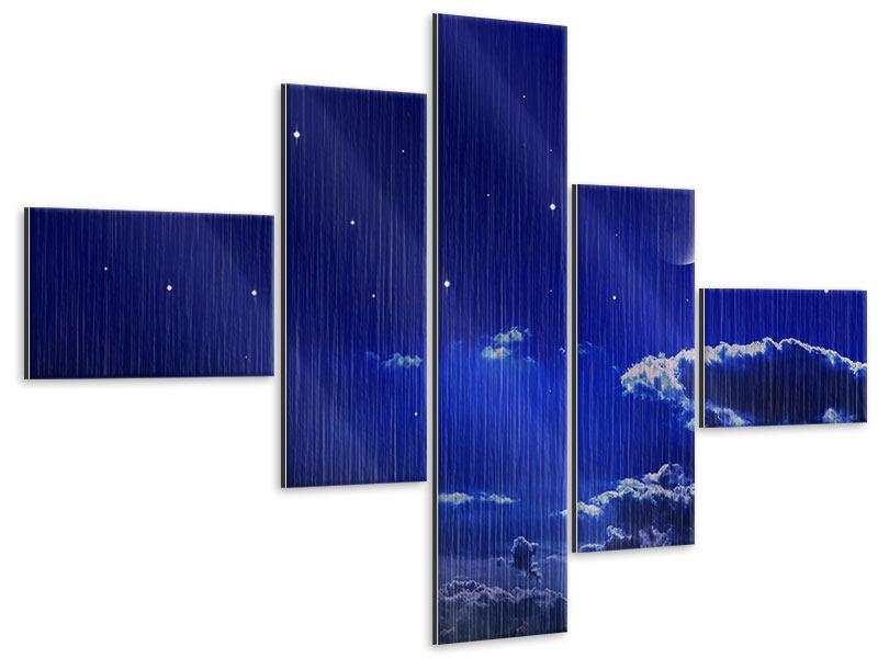 Metallic-Bild 5-teilig modern Der Nachthimmel