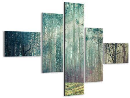 Metallic-Bild 5-teilig modern Pinienwald
