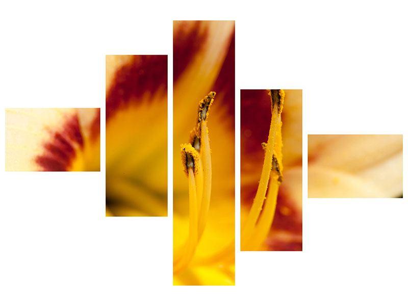Metallic-Bild 5-teilig modern Riesenlilie