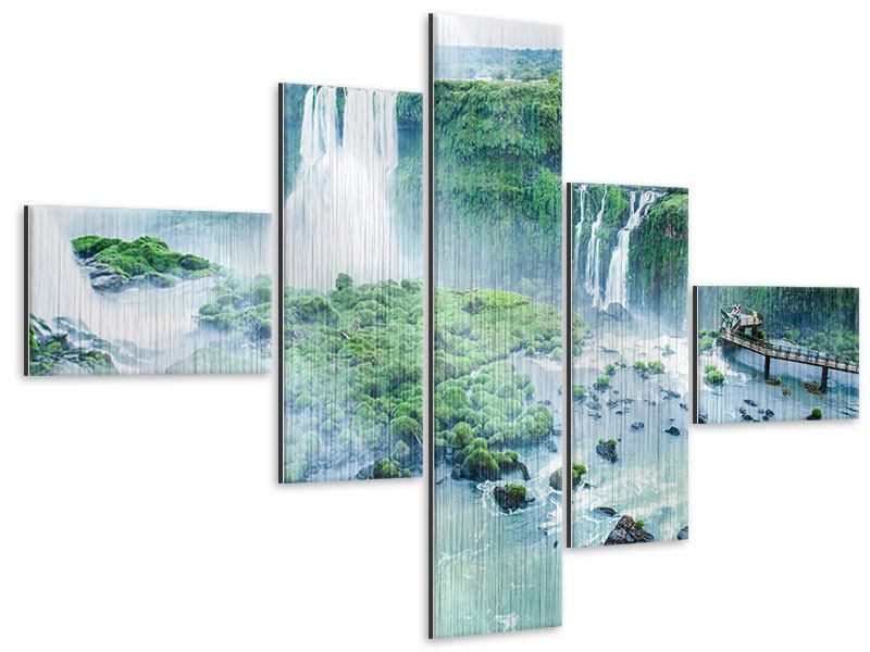 Metallic-Bild 5-teilig modern Wasserfälle
