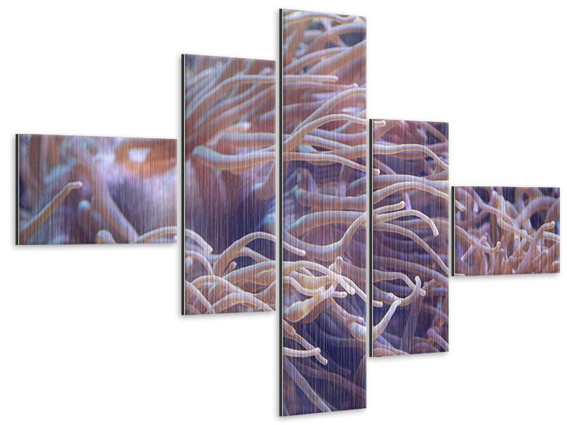 Metallic-Bild 5-teilig modern Korallenriff
