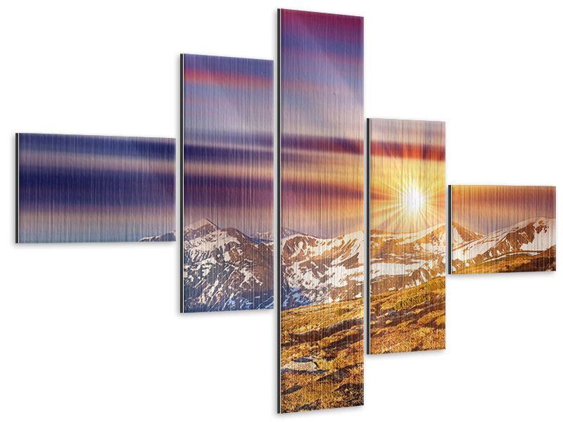 Metallic-Bild 5-teilig modern Majestätischer Sonnuntergang am Berggipfel