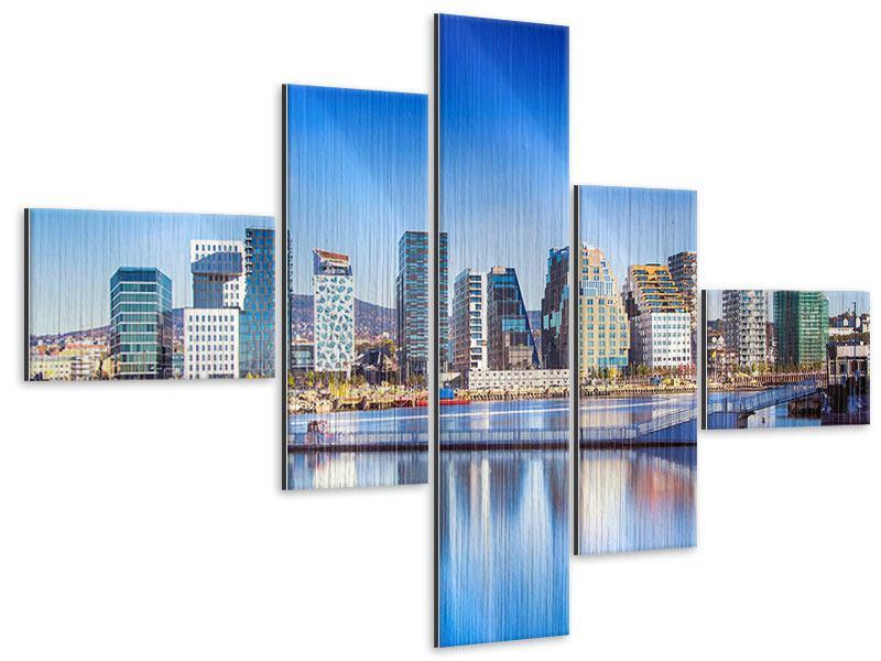 Metallic-Bild 5-teilig modern Skyline Oslo