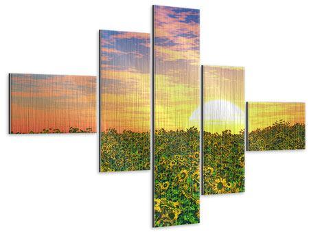 Metallic-Bild 5-teilig modern Blumenpanorama bei Sonnenuntergang