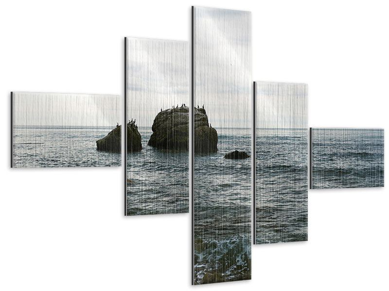 Metallic-Bild 5-teilig modern Leise Wellen