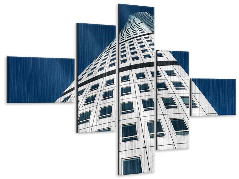 Metallic-Bild 5-teilig modern Meisterstück Wolkenkratzer