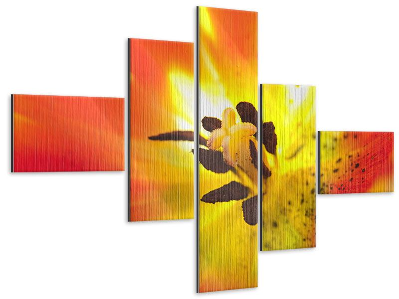 Metallic-Bild 5-teilig modern Die Narbe einer Tulpe XXL