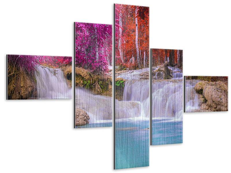 Metallic-Bild 5-teilig modern Paradiesischer Wasserfall
