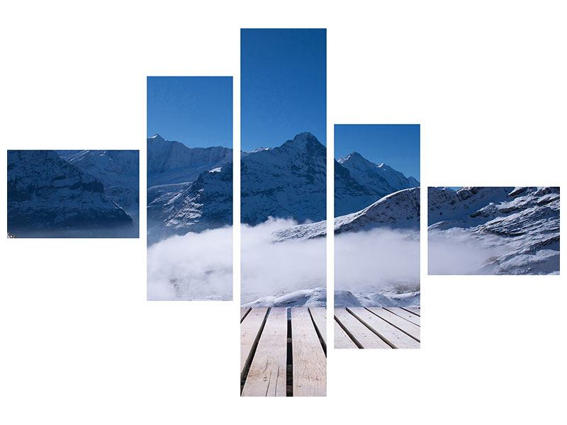 Metallic-Bild 5-teilig modern Sonnenterrasse in den Schweizer Alpen