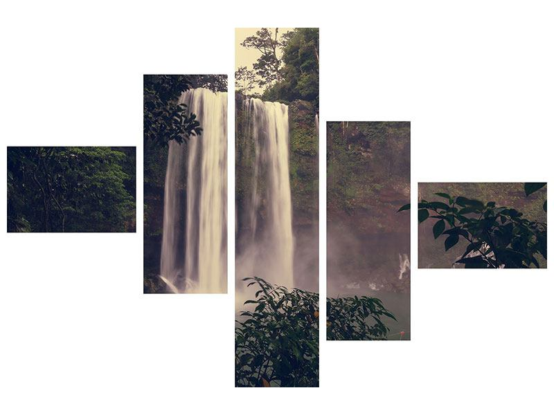 Metallic-Bild 5-teilig modern Wasserfall in Mexiko