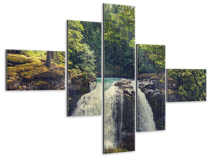 Metallic-Bild 5-teilig modern Flussströmung