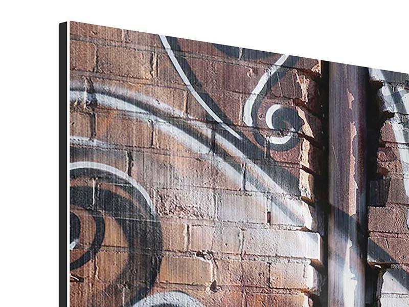 Metallic-Bild 5-teilig modern Graffiti Mauer