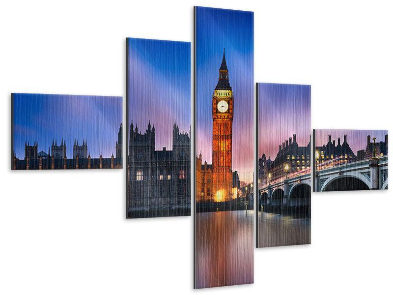 Metallic-Bild 5-teilig modern Nachts am Big Ben