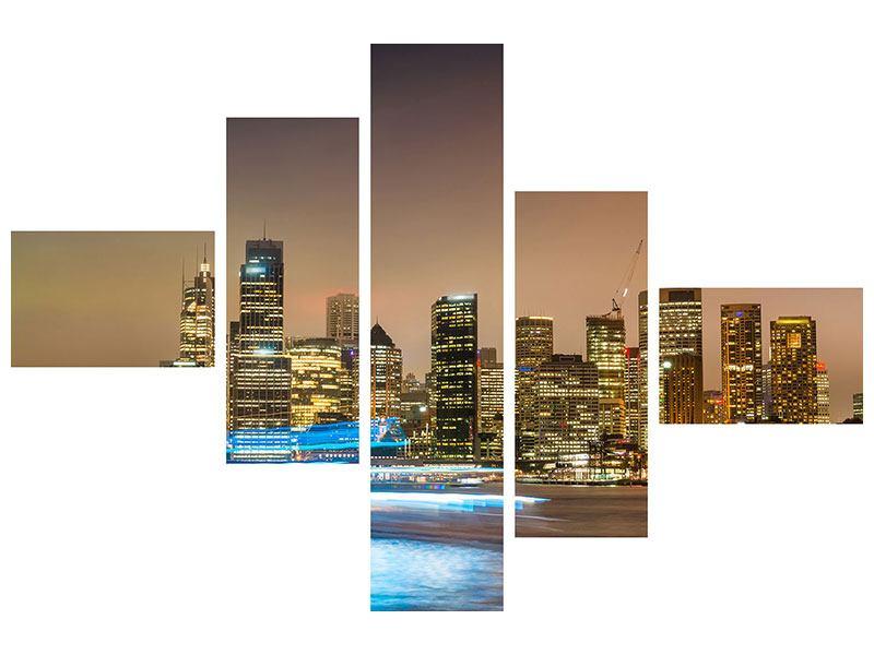 Metallic-Bild 5-teilig modern Skyline Sydney im Lichtermeer