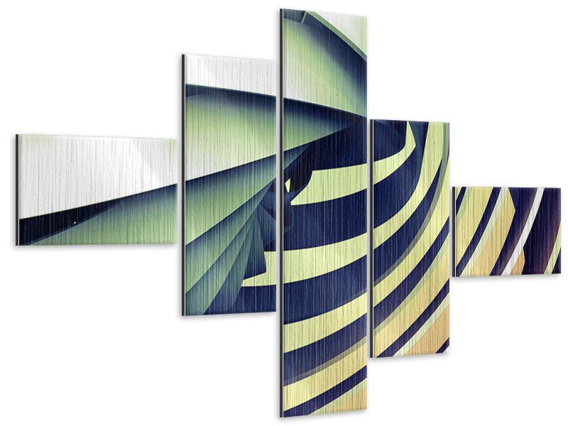 Metallic-Bild 5-teilig modern Abstrakte Perspektiven