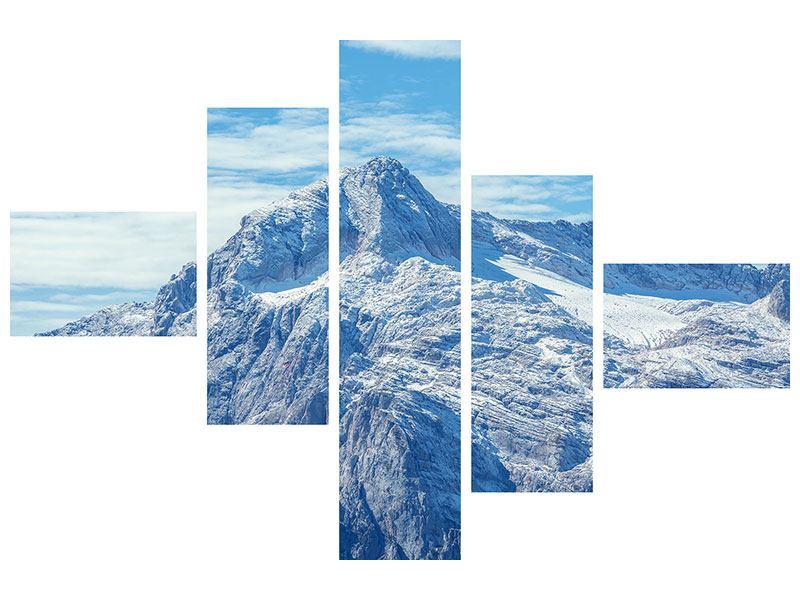 Metallic-Bild 5-teilig modern Friedliche Bergstimmung
